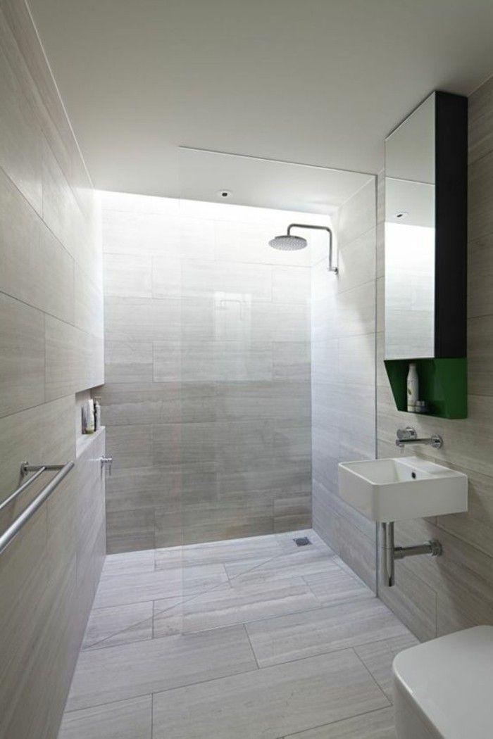 La salle de bain avec douche italienne 53 photos salle for Salle de bain carrelage gris et beige