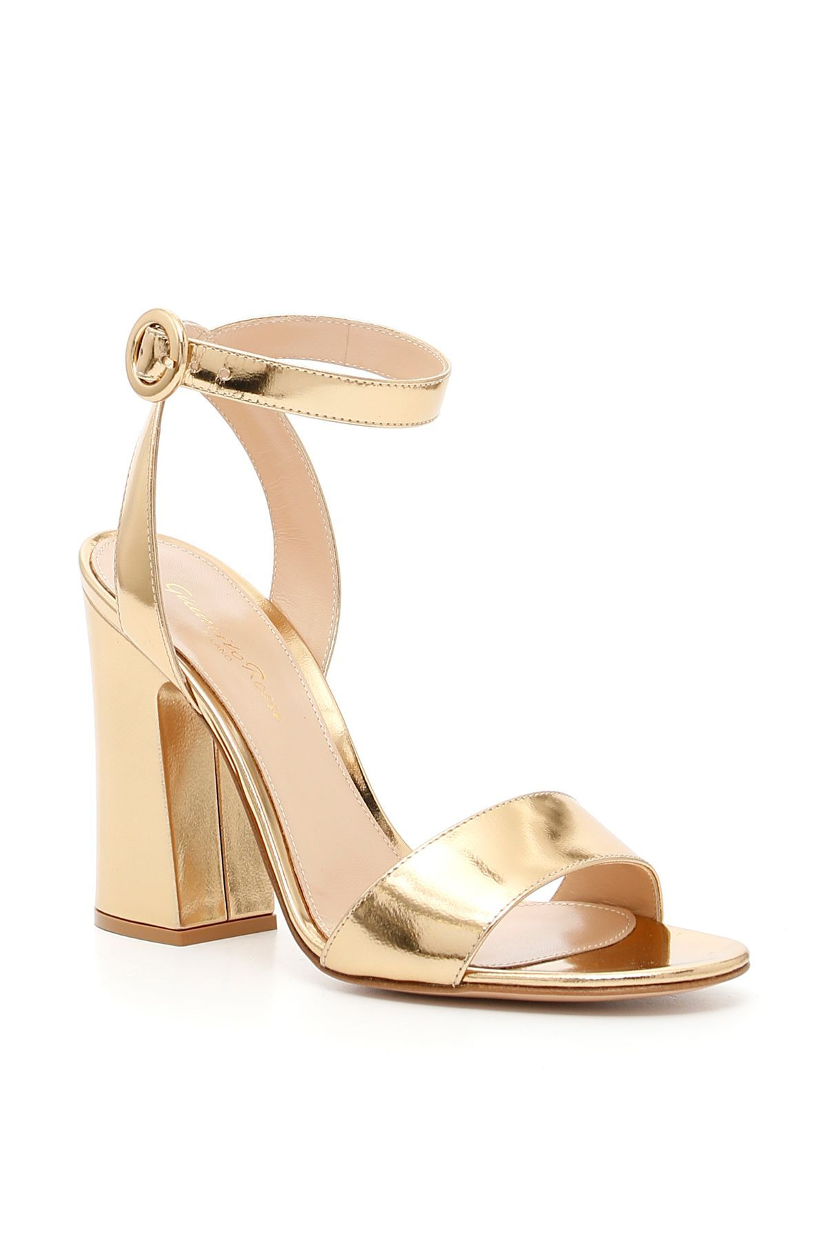 Gianvito Rossi Tandi Metallic Leather Ankle Strap Block Heel Sandals In Gold Modesens Ankle Strap Block Heel Block Heels Sandal Sandals Heels
