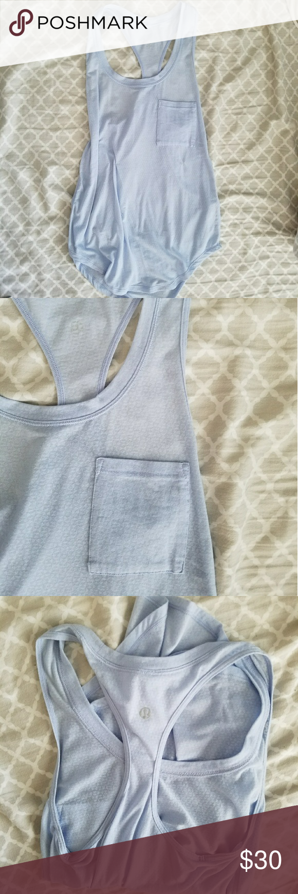 Soft loose lulu tank Beautiful Blue looks tank with a pocket. Will fit a size 4 as well lululemon athletica Tops Tank Tops