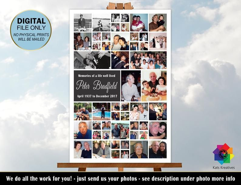 Funeral Memorial Photo Collage Funeral Display Memory