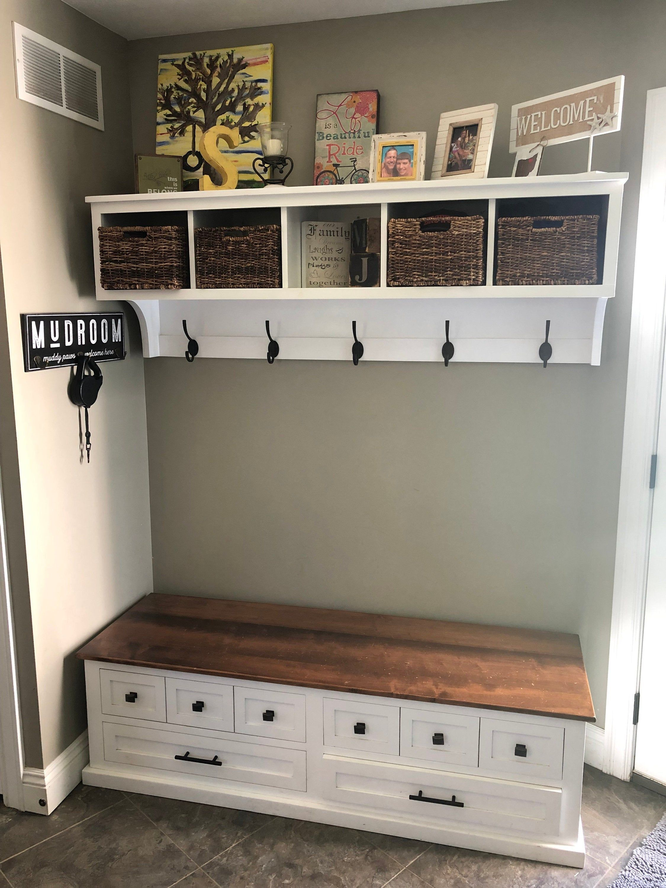 Entryway Cubby And Bench Wall Storage Cubical With Matching Bench