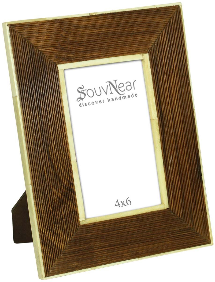 Bulk Buy 4x6 Inches Picture Frame in Brown Pinstripe Pattern - W ...