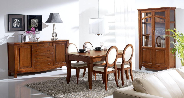Elegant dining room design with wooden furniture set including