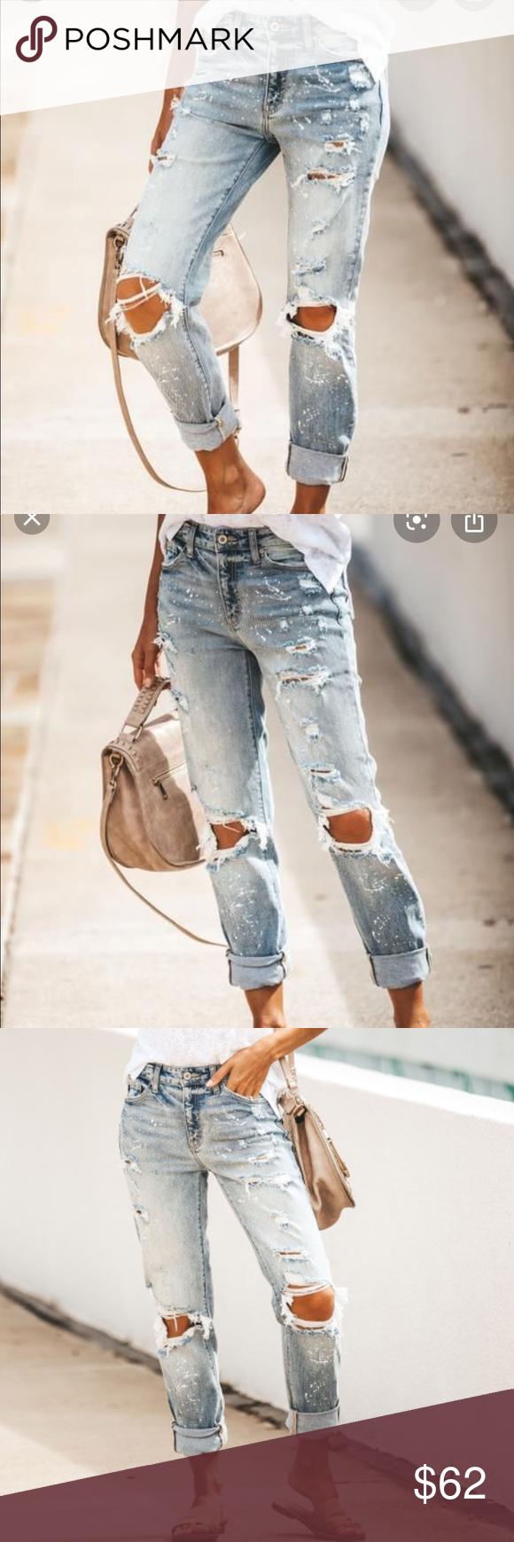 HautePinkPretty - Paint Splattered Boyfriend Jeans