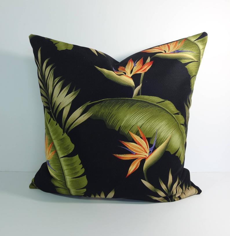 Tropical Print Decorative Pillow Cover Hawaiian Throw Pillow