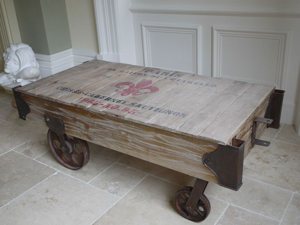 Retro Industrial Railway Wooden Coffee Table On Wheels Pallet Style Coffee  Table Part 90