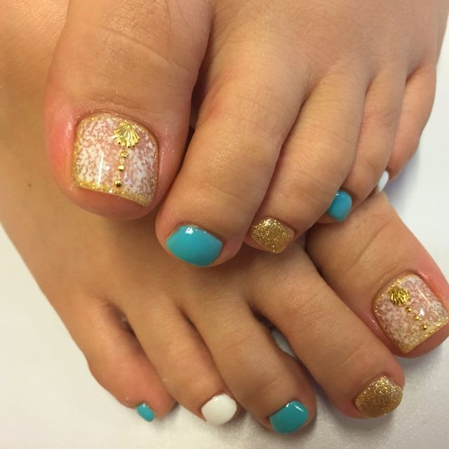 Aqua Blue , Gold Glitter , White , Gems , Toe Nail Design