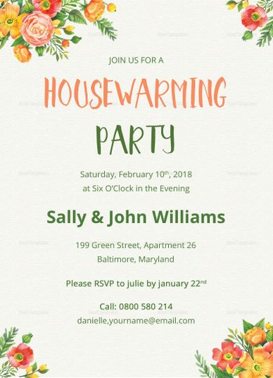 Colorful Housewarming Invitation Template  Invitation Card