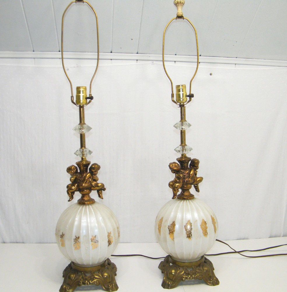What S Hot On Pinterest Mid Century Table Lamps For Your Loft: ANTIQUE VINTAGE MID CENTURY PAIR WHITE GLOBE CHERUB GOLD