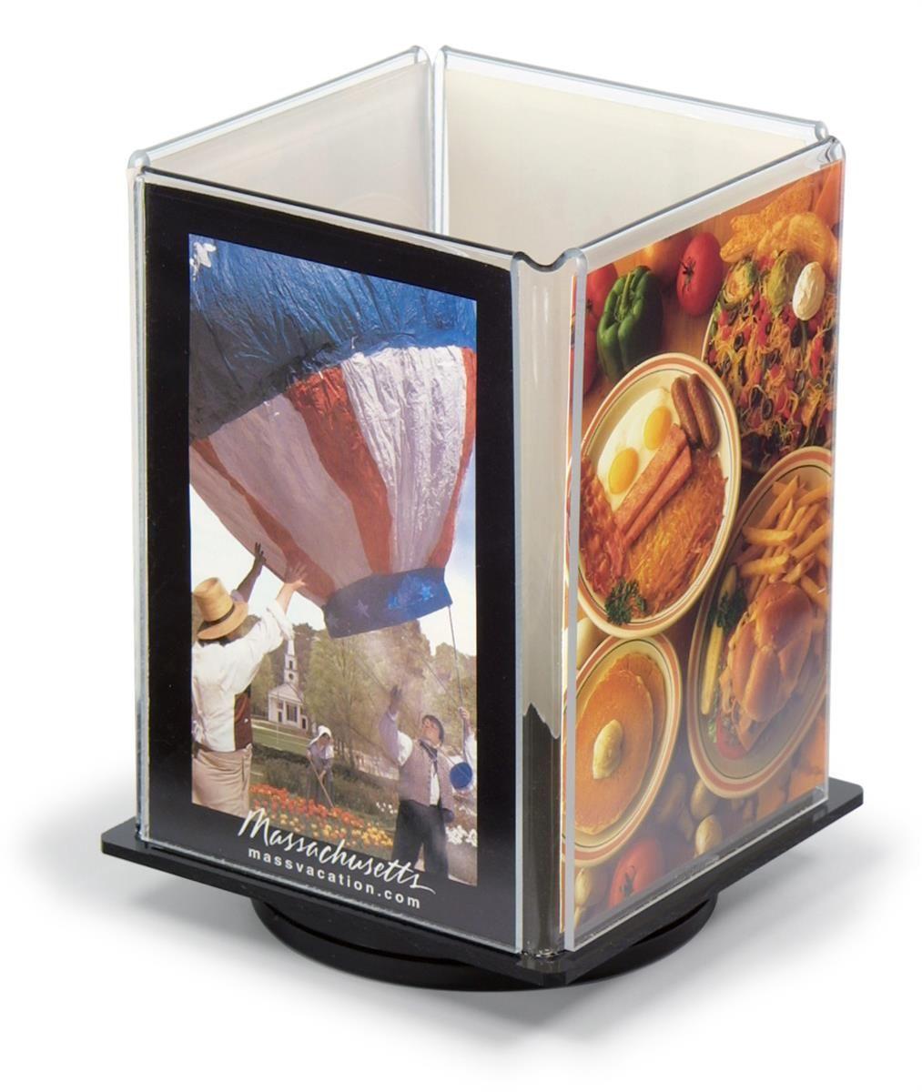 4 x 6 rotating quad fold menu display acrylic