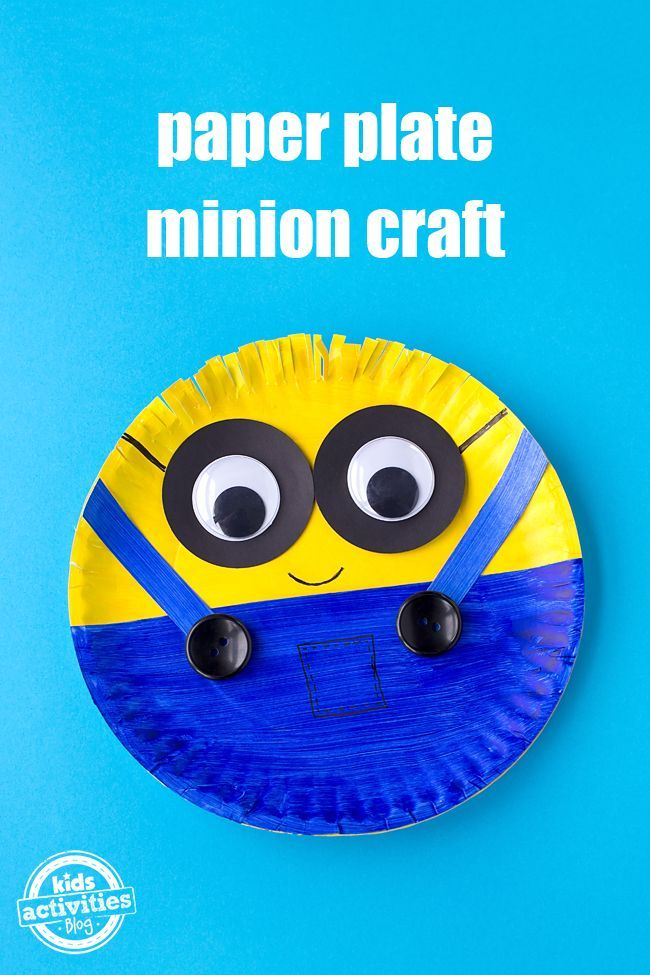 This easy, colorful, and fun paper plate minion is perfect for kids!