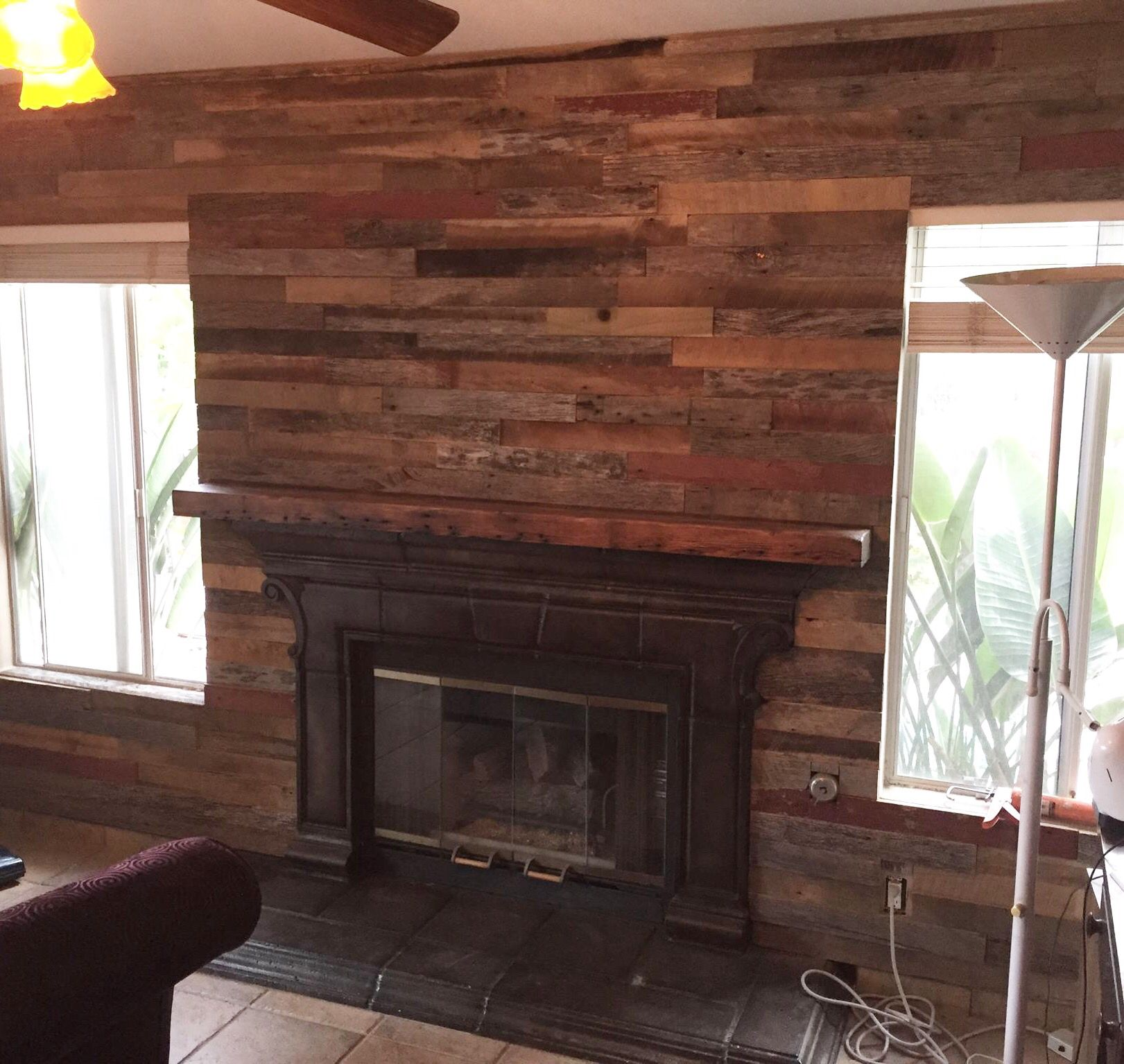 Blue Accent Wall Wood Floors And Ceiling: Talk About An Accent Wall! Reclaimed Wood Covers This Main