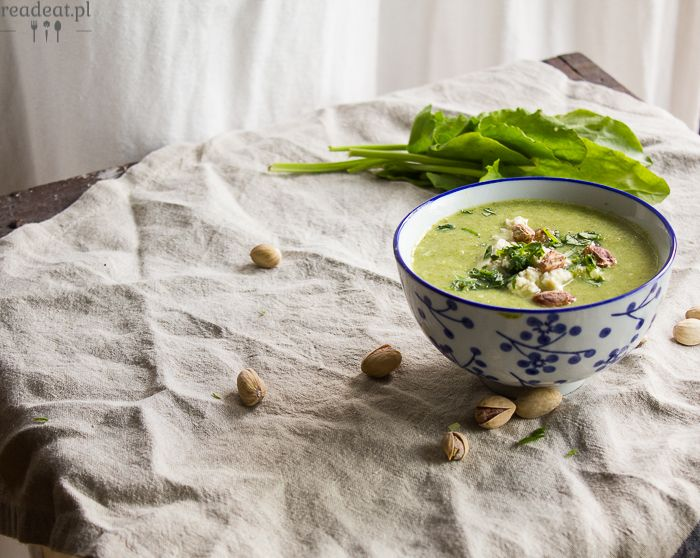 Green pea and sorrel soup with tofu, pistachios and lovage