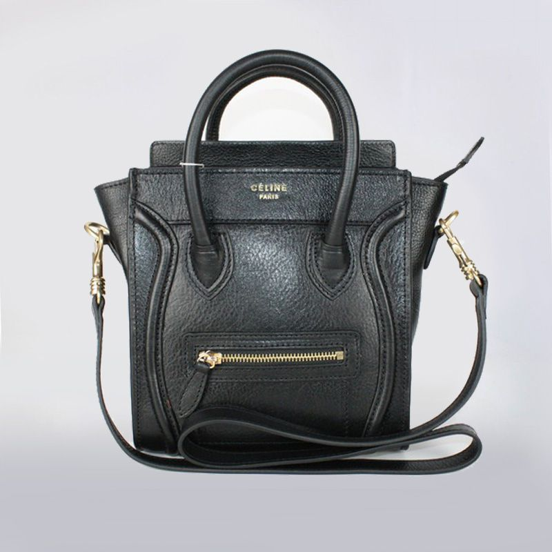 Celine Micro Black Leather Luggage Bag With Sling