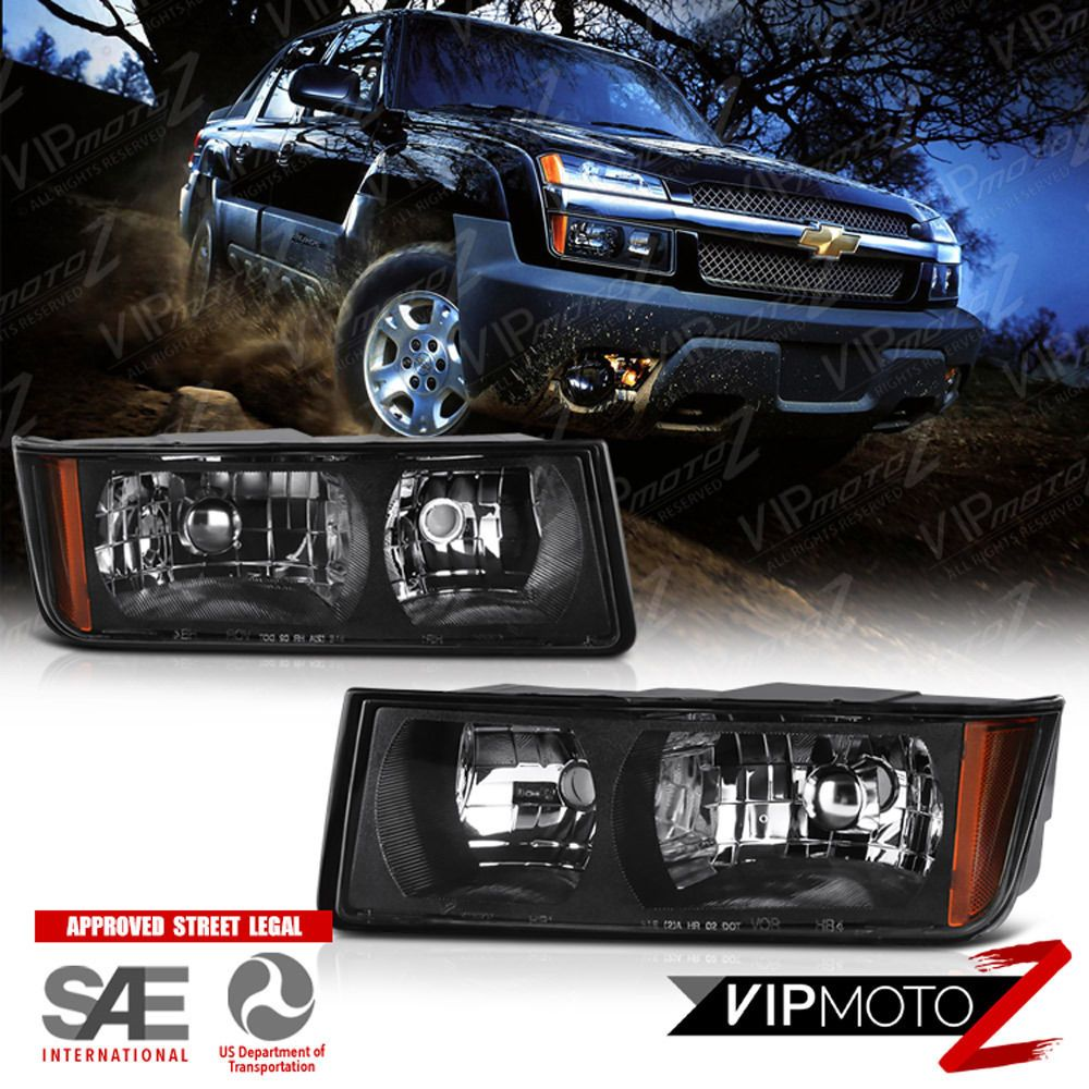 2002 2003 2004 2005 2006 Chevrolet Avalanche Black Headlights Headlamps Assembly Chevy Avalanche Black Headlights Avalanche