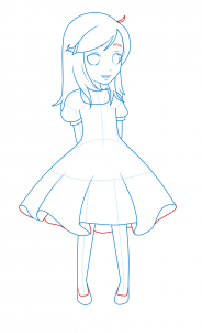 How To Draw A Girl In A Dress Step 12 Drawings Chibi Girl
