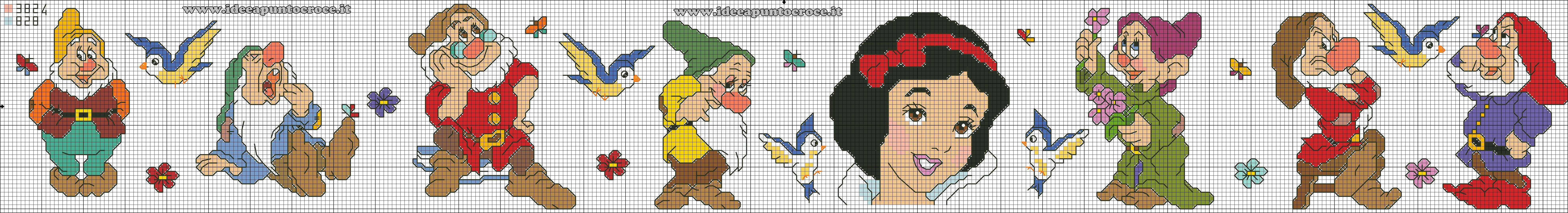 Schema bordura punto croce biancaneve e i sette nani for Farfalle punto croce schemi gratis