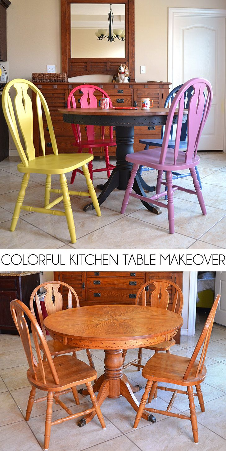 Colorful Kitchen Table Makeover | Kitchen table makeover ...