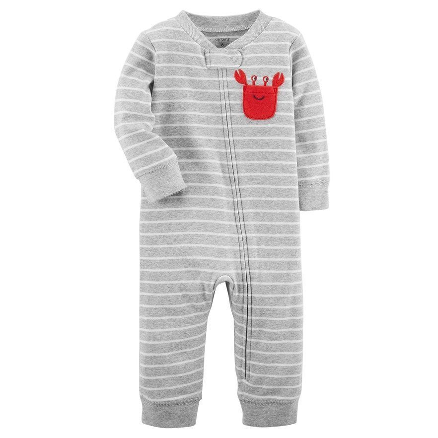 46841a188c50 Baby Boy Carter s Crab Striped  footless One-Piece Pajamas