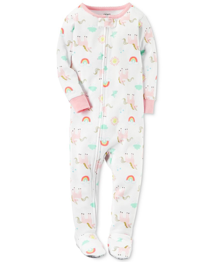 New Carter/'s 1-Piece Unicorn Footed Snug Fit Cotton PJs Girls