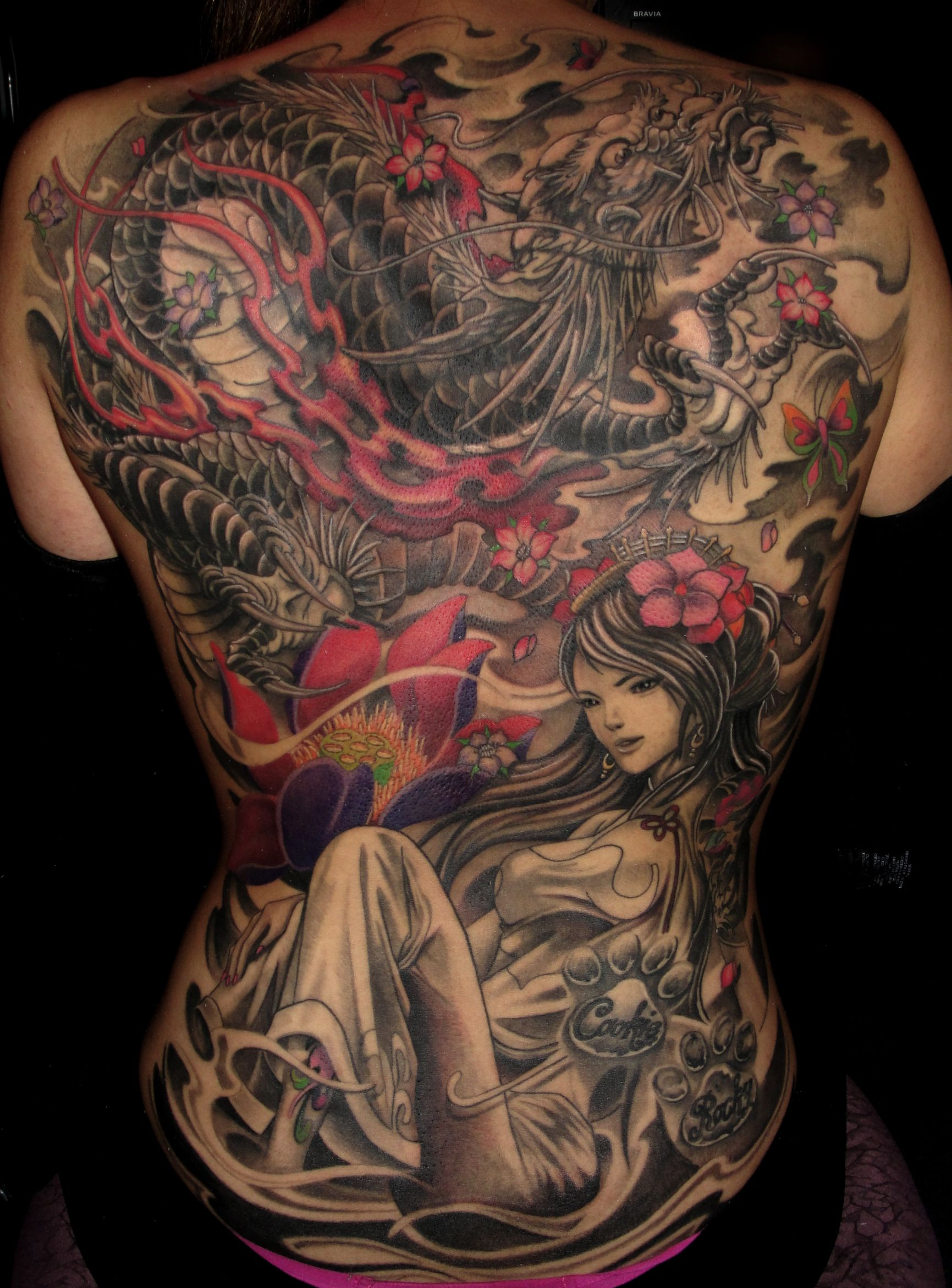 Full back Geisha Dragon and Lotus tattoo - Chronic Ink ...