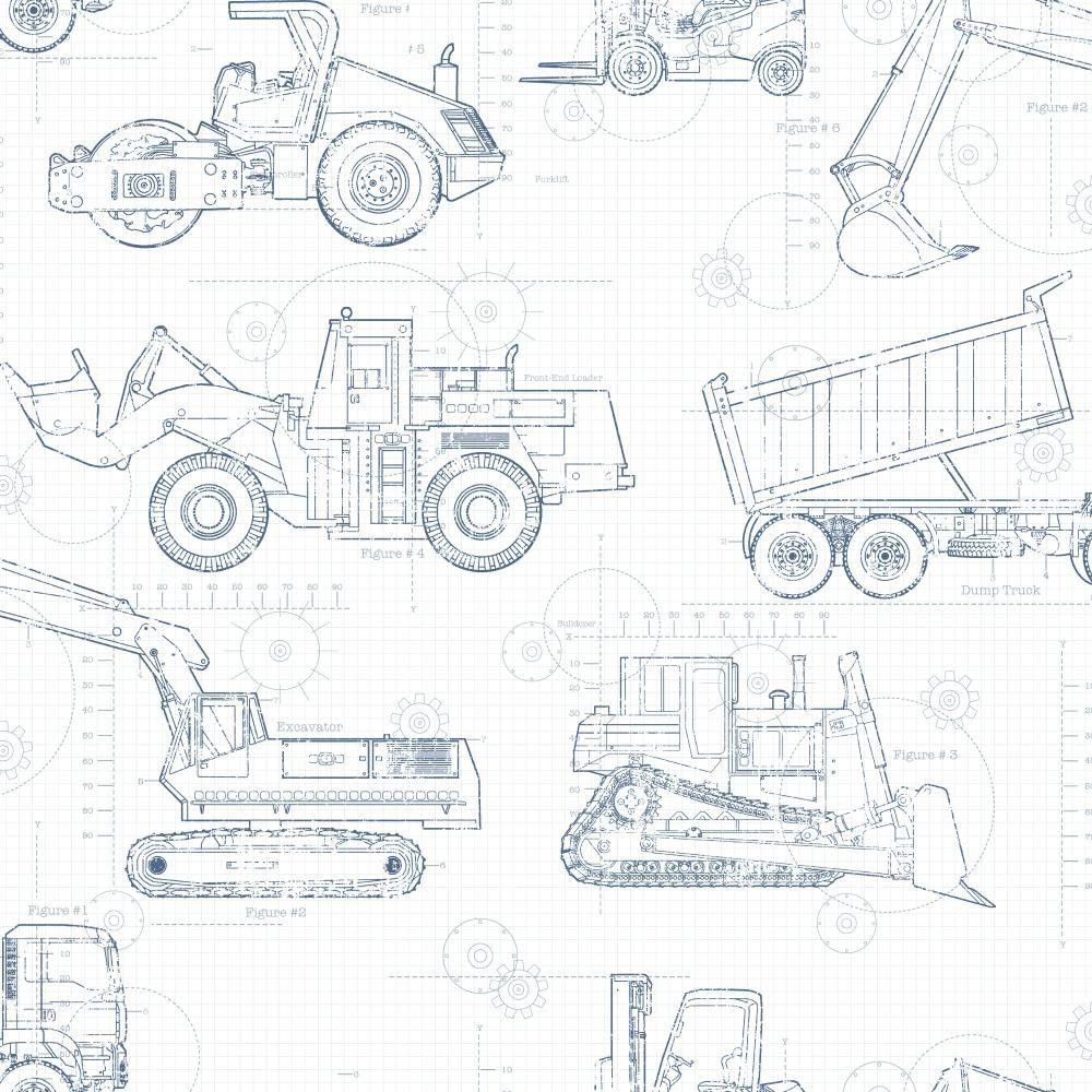 York Wallcovering Cool Kids Construction Blueprint