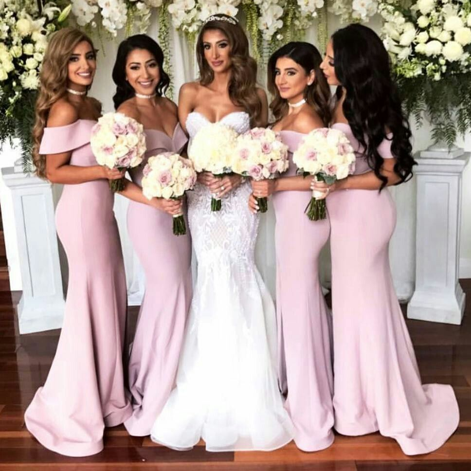 Offshoulder satin mermaid long bridesmaid dresses with front slit