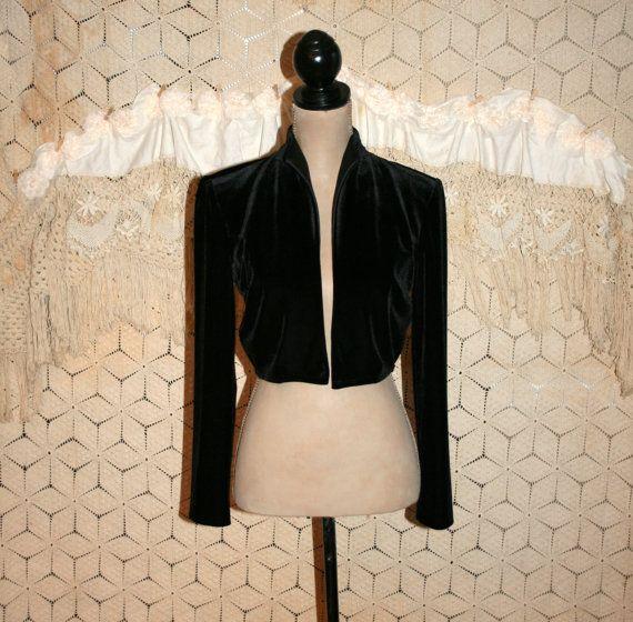 80s Black Velvet Cropped Jacket Gypsy Bolero by MagpieandOtis