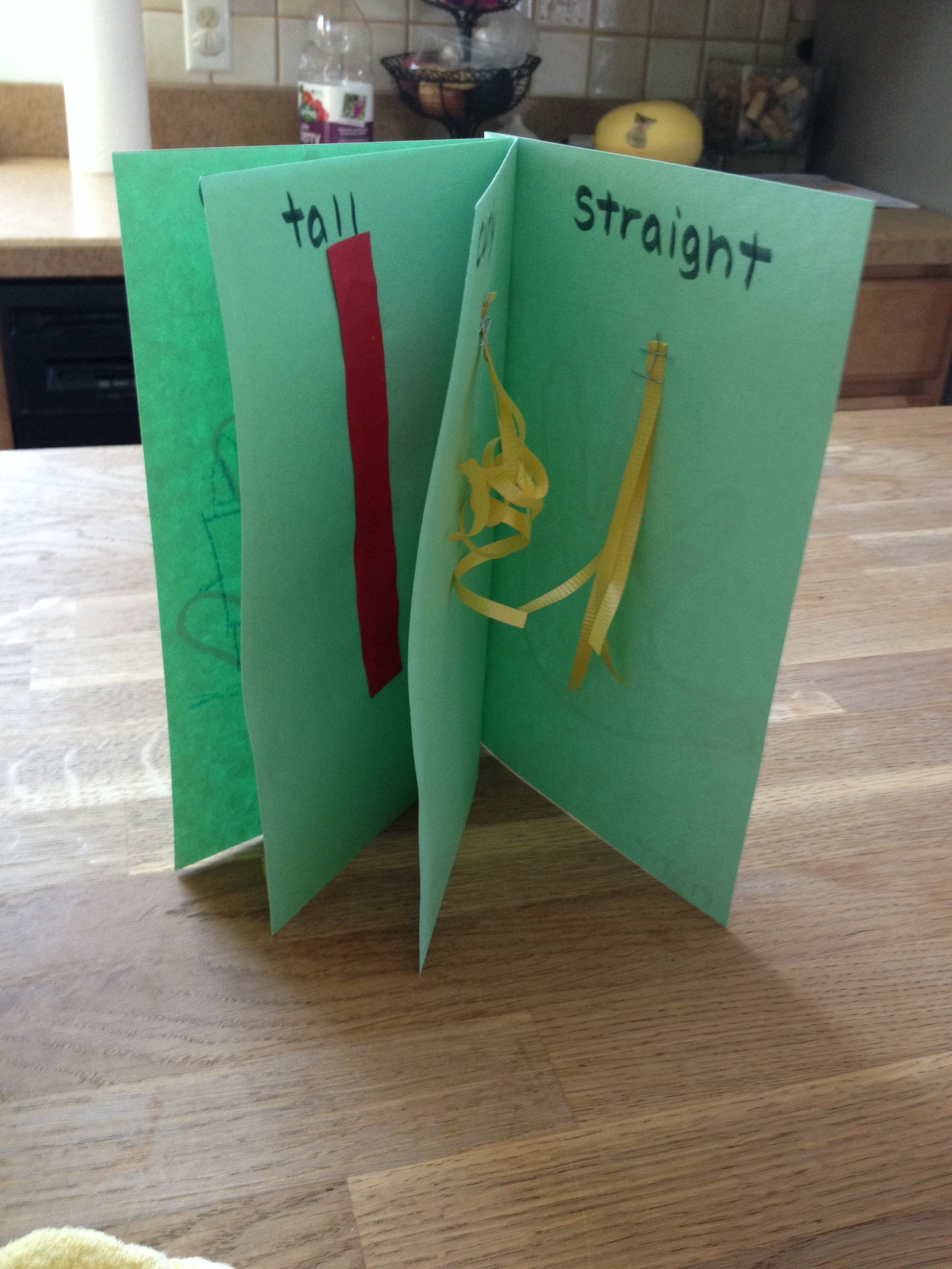 Preschool Craft Opposites Book Left Right First Last Curly Straight Hot Cold Facebook