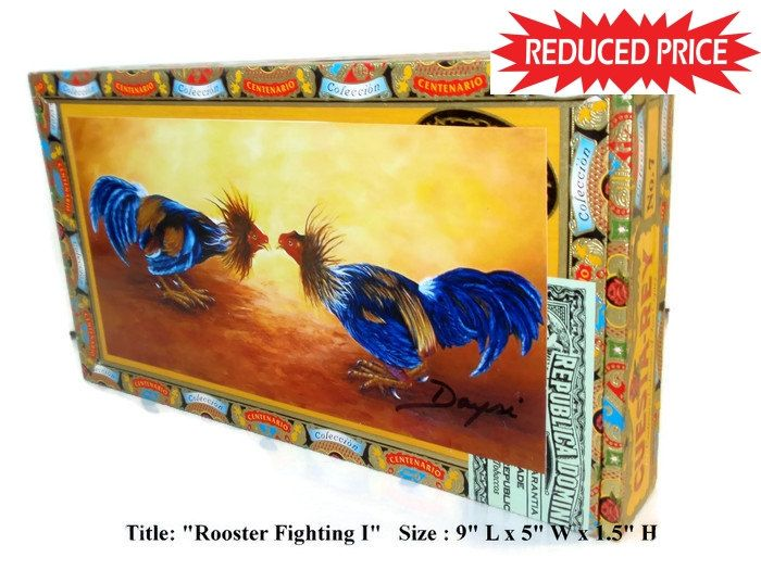 REDUCE PRICE Old Cigar Box with Art work \