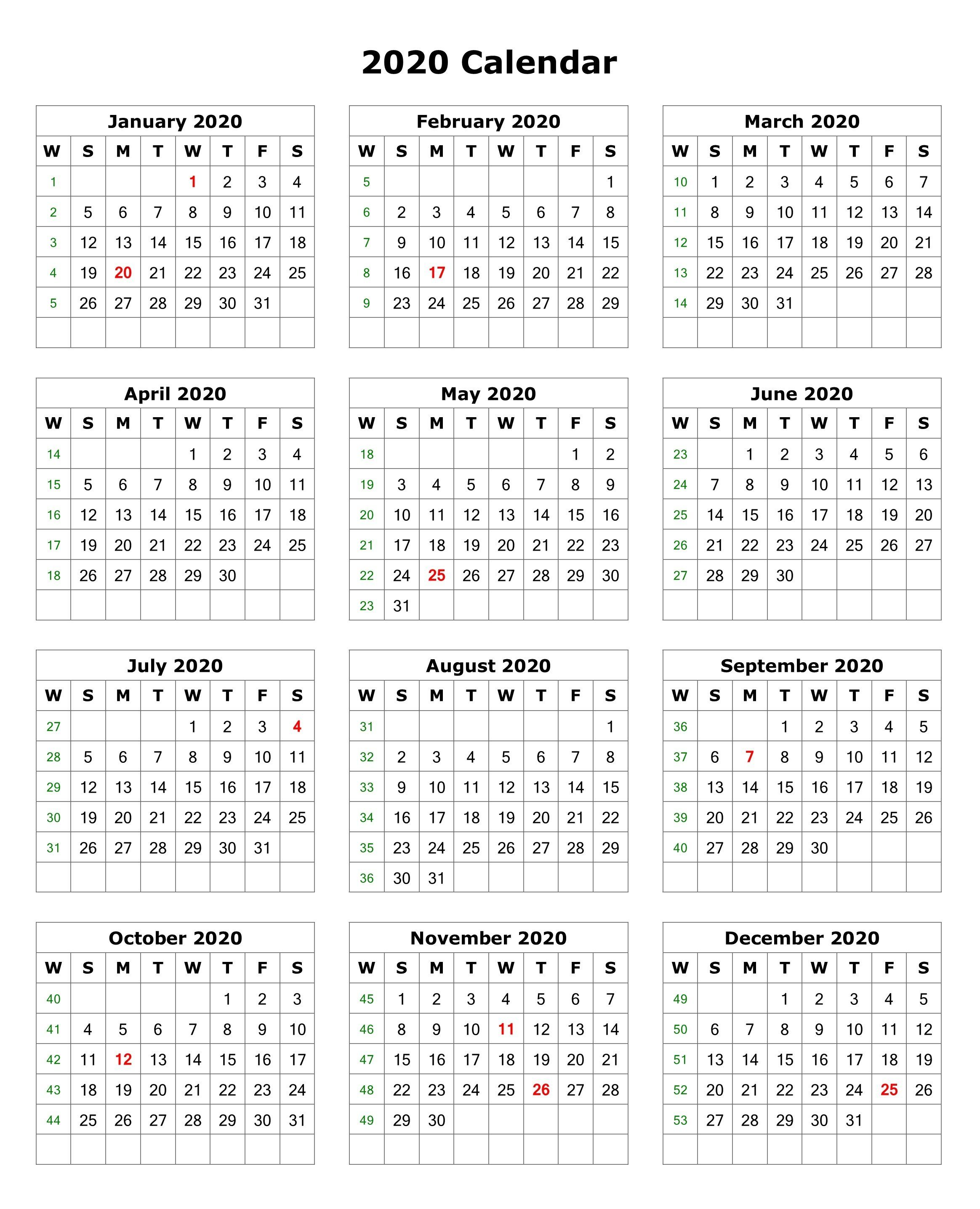 Printable 2020 Calendar One Page.2020 One Page Portrait Calendar Printable Calendar 2020