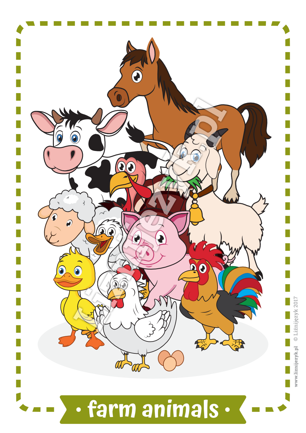 Farm Animals English Flashcards Farm animals, Animal