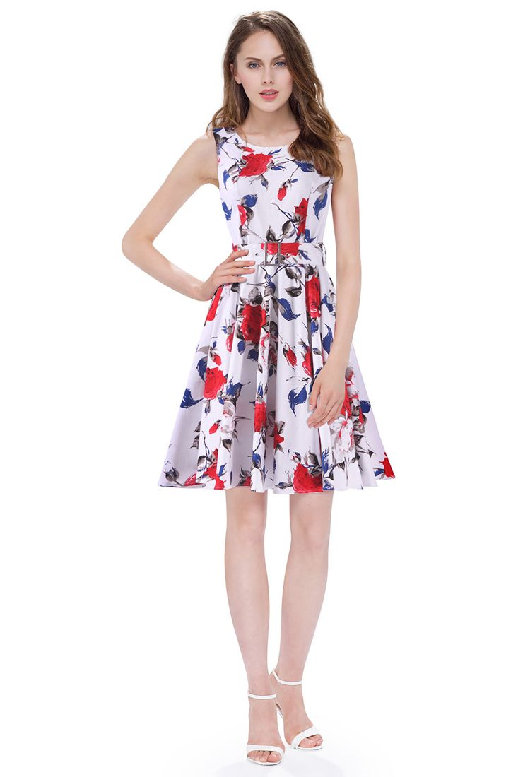 Blue Red Rose Belted Dress by Clarissa - Buy Womens Evening Wear Online. |  Womens evening wear, Belted dress, Buy clothes