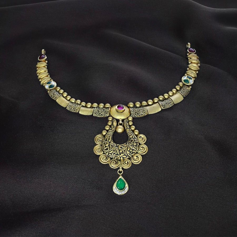 Tajasri mudhra gold necklace mudhra collection by candere a