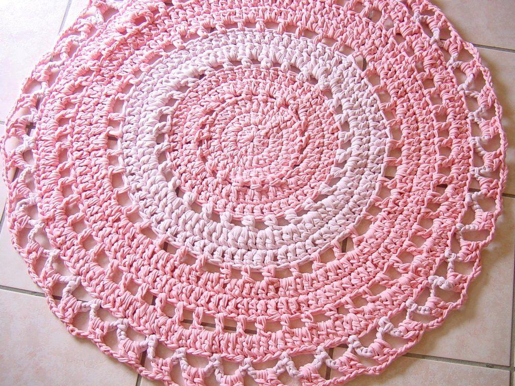 Tappeto Fettuccia Uncinetto Rosa By Idee Fabulose 5500 Su