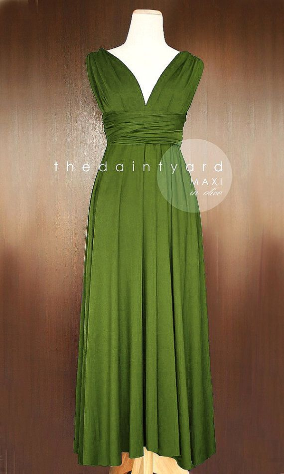 9ae1fd816e0 MAXI Olive Bridesmaid Convertible Infinity Multiway Wrap Dress Green Full  Length
