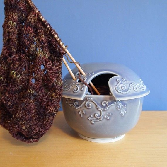 Reserved for cityknitslavender grey yarn bowl with by jampdx