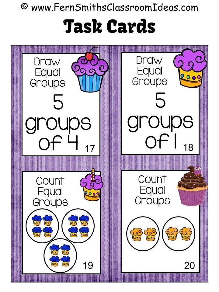 Fern S Freebie Friday Free Equal Groups Task Cards With A Cupcake Theme Go Math Math Task Cards Third Grade Math Count equal groups worksheets grade