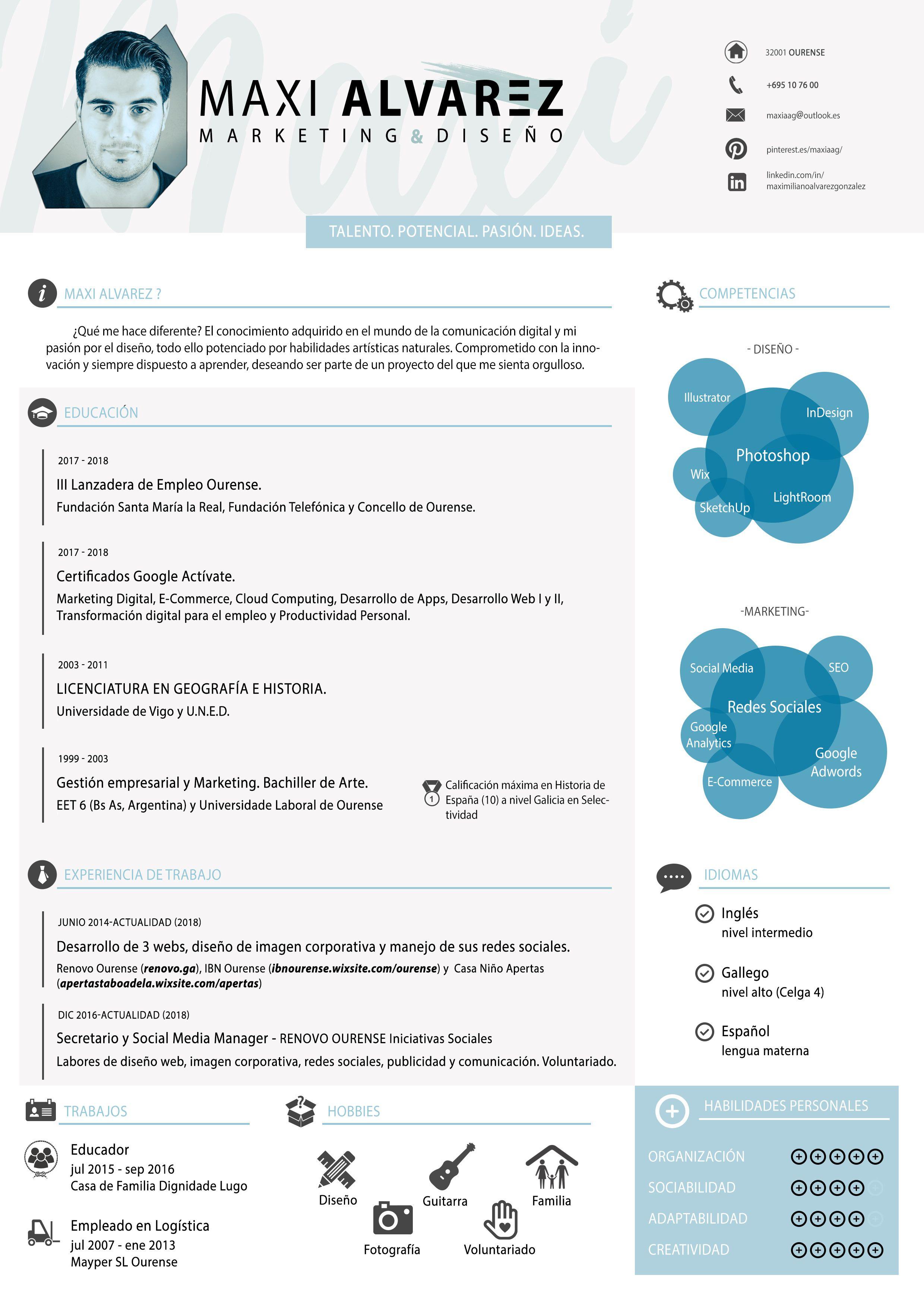 Mi Curri Curriculum Vitae Maxi Alvarez Curriculumcreativo Curriculumvitae Curriculum Cv Marketing Diseno Mihistoria Marketing Photoshop Educacion