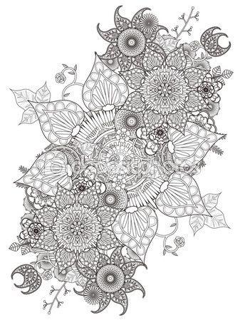 Página para colorear de flores elegantes — Vector de stock | Lineart ...