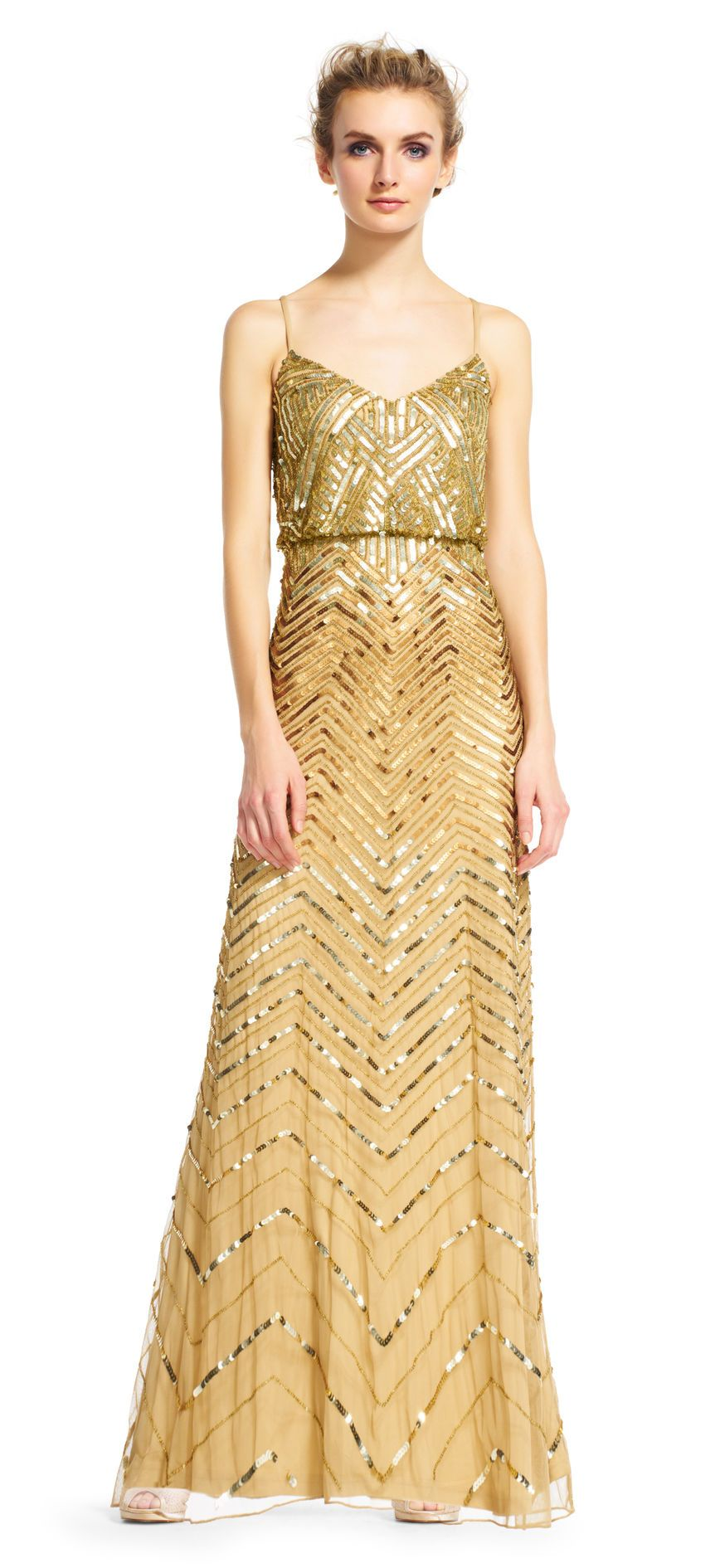 Chevron beaded blouson gown adrianna papell gowns and beads