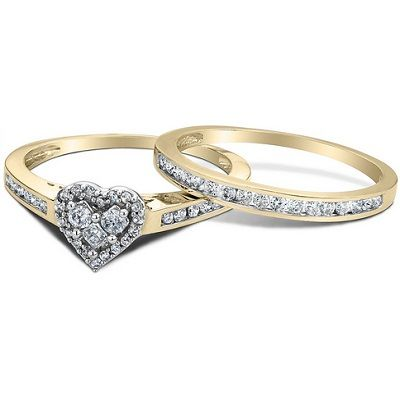 Diamond Heart Engagement Ring And Wedding Band Set In 10K Yellow Gold
