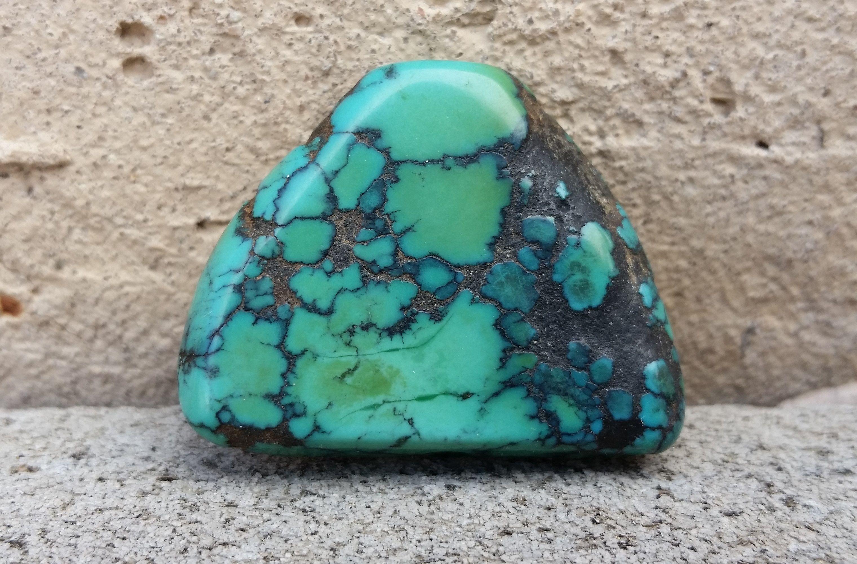 Rare Genuine Antique Tibetan Turquoise Triangular Stone Bead 9 Grams 30mm x 23mm x 5mm