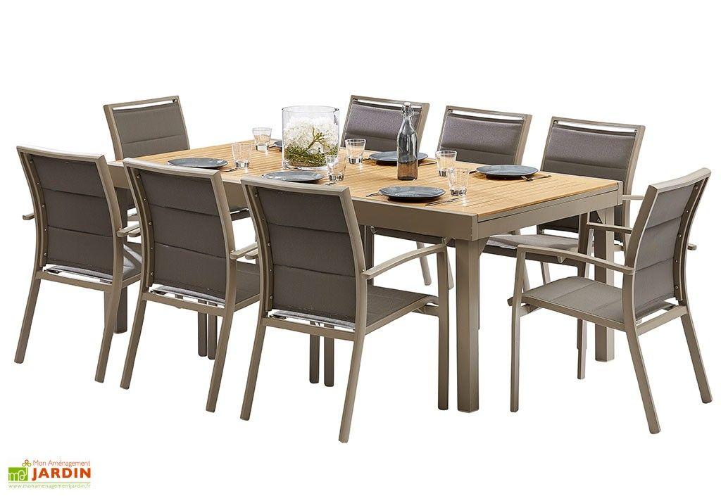 de jardin Polywood : Table Extensible + 8 Fauteuils