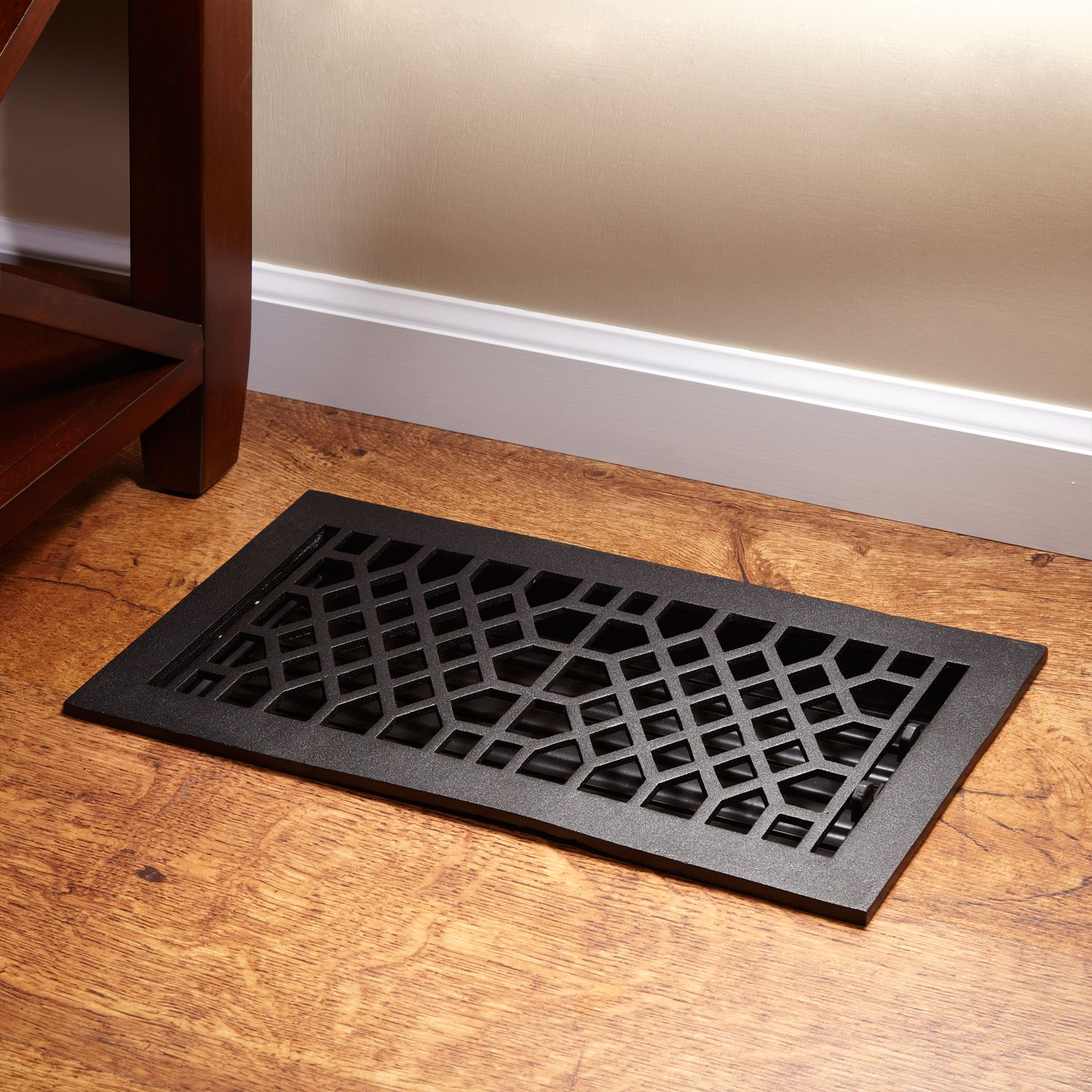 Antique Style Cast Iron Floor Register with Louvers