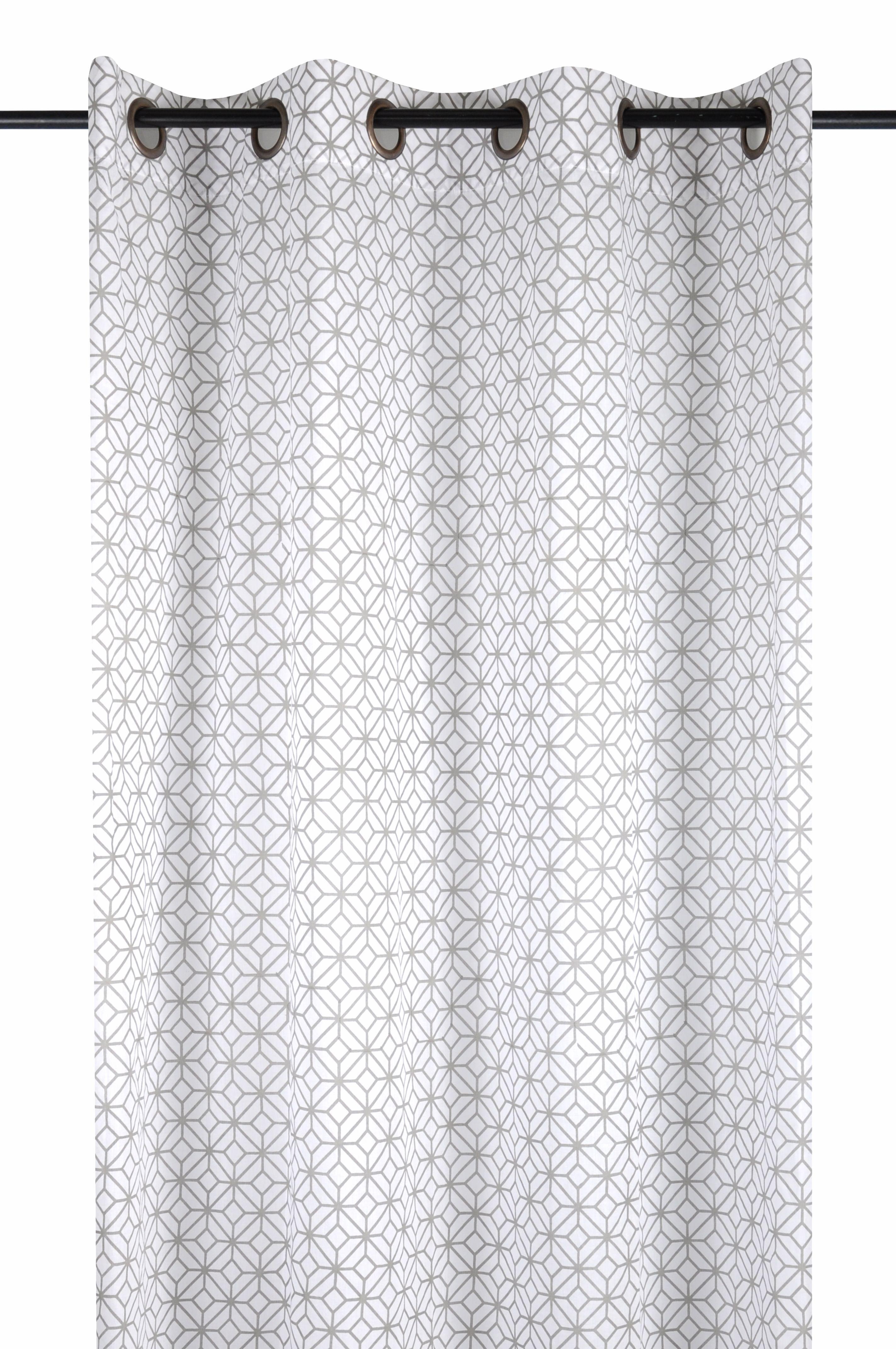Rideau Voilage Blanc Décor Carrés Géométriques Argentés 140x260cm à