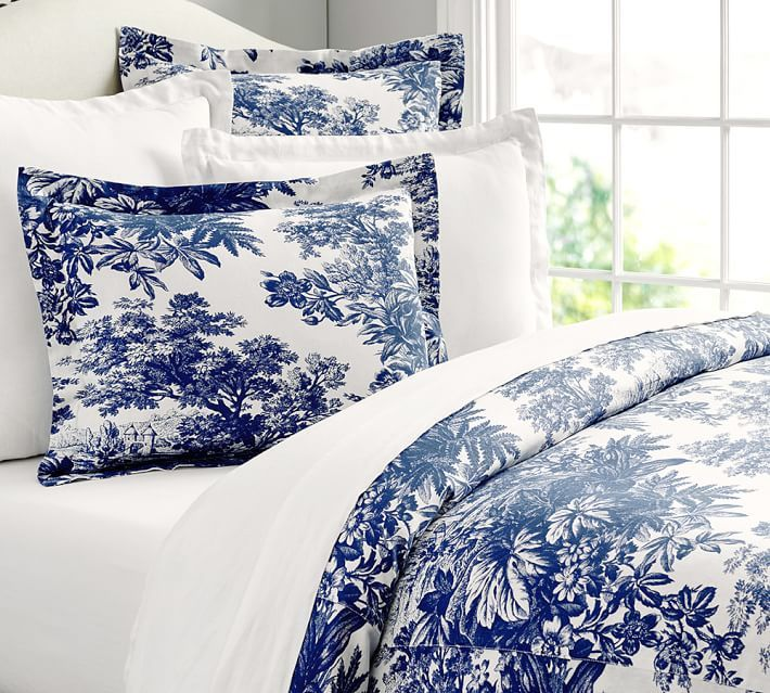 Matine Toile Duvet Cover Sham Bedding Blue White Blue Bedding