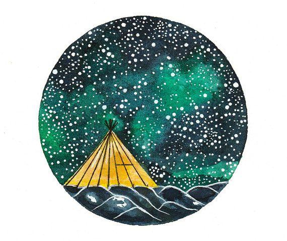 Original Watercolor Painting Art Illustration Camping Tent Stars