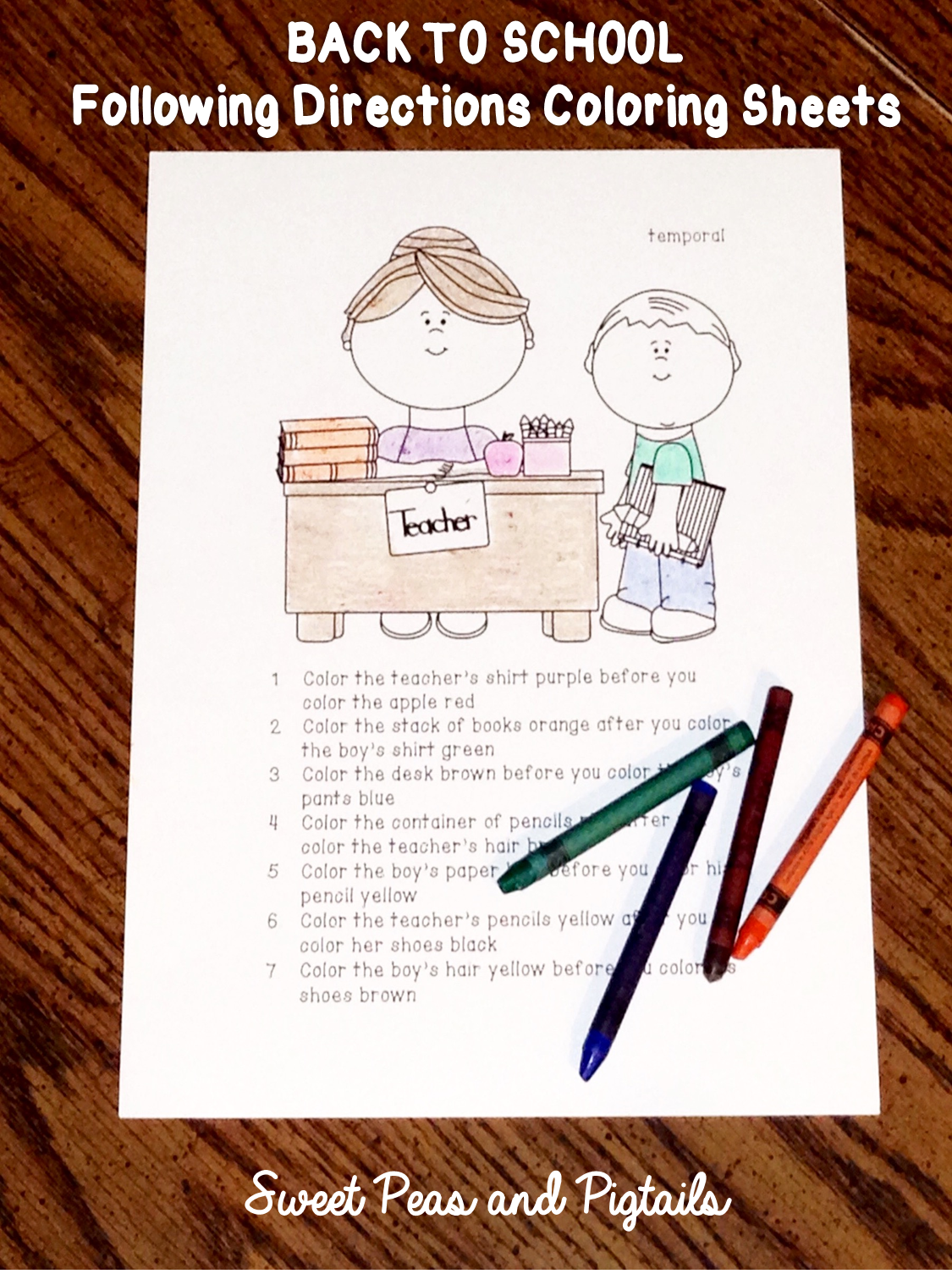 Back To School Following Directions Cards Amp Coloring