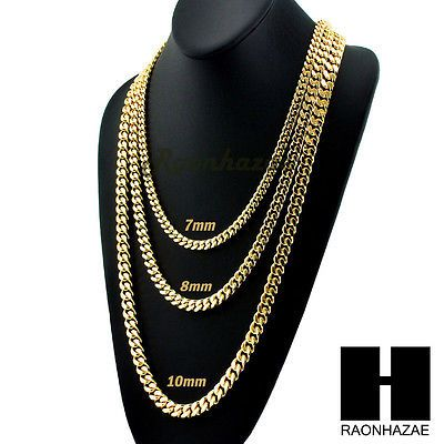 "Miami Cuban Yellow 14k Gold Plated 7 - 10mm wide 24"" 30"" 36"" Curb Chain Necklace"
